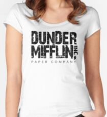DUNDER MIFFLIN TSHIRT Funny Humor THE OFFICE TEE Paper COMPANY Dwight Humorous Women's Fitted Scoop T-Shirt
