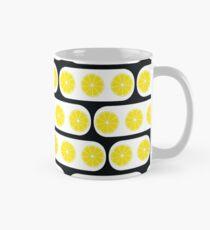 Lemons slices with black modern ornament white background Mug
