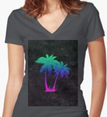 Outrun Tree Art! Women's Fitted V-Neck T-Shirt