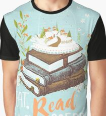 Eat, Read and Be Merry with Snow Globe Graphic T-Shirt