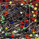 Glass ball straight pins by Arie Koene