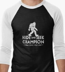 Hide &Seek Champion Since 1967 Shirt Funny Bigfoot Sasquatch Men's Baseball ¾ T-Shirt