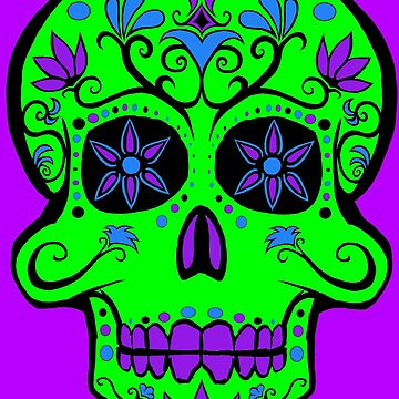 Day of the Dead  skull 1 green and purple by Tiduk