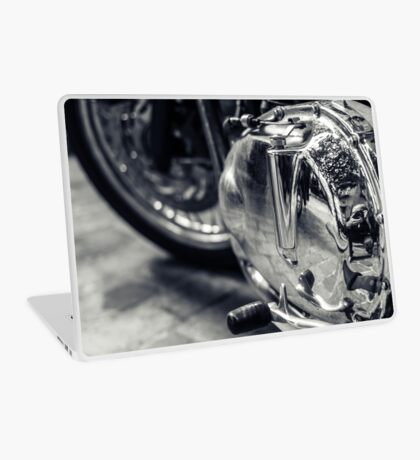 Motorbike engine with reflections of a paved street Laptop Skin