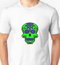 Day of the Dead  skull 2 green and purple Unisex T-Shirt