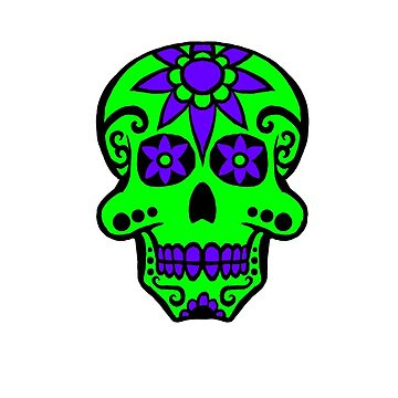 Day of the Dead  skull 2 green and purple by Tiduk