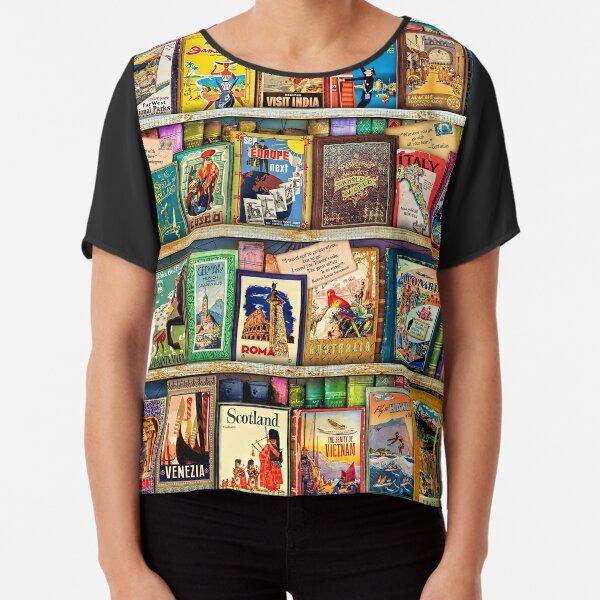 Travel Guide Book Shelf Chiffon Top