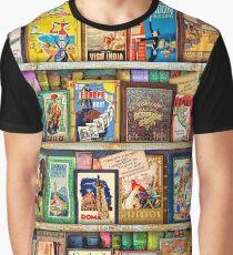 Travel Guide Book Shelf Graphic T-Shirt