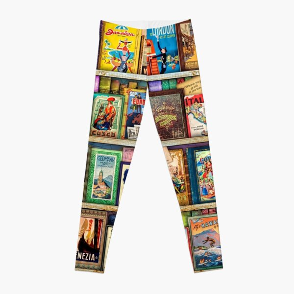 Travel Guide Book Shelf Leggings