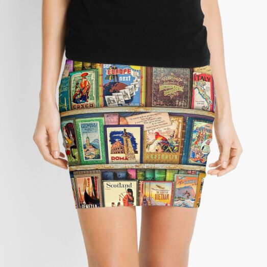 Travel Guide Book Shelf Mini Skirt