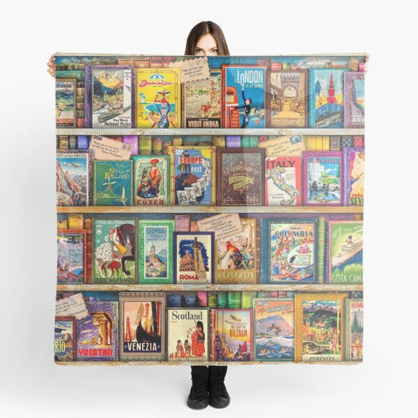 Travel Guide Book Shelf Scarf