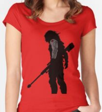 winter soldier silhouette Women's Fitted Scoop T-Shirt