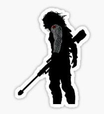 Pegatina silueta de soldado de invierno