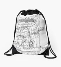 The Cleft of Five Worlds Drawstring Bag