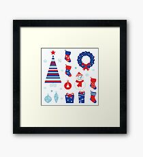 Christmas vector icons collection : red and blue Framed Print