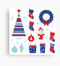 Christmas vector icons collection : red and blue Canvas Print