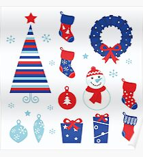 Christmas vector icons collection : red and blue Poster
