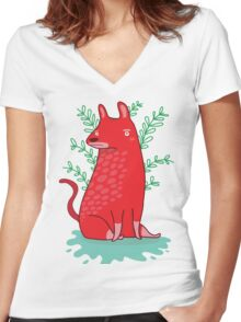 Big red Dog Women's Fitted V-Neck T-Shirt