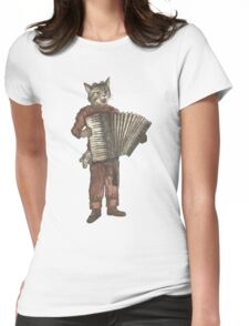 Accordion Cat with Goggles and Mask Womens Fitted T-Shirt