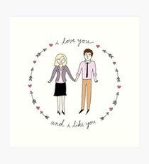 Leslie & Ben Art Print