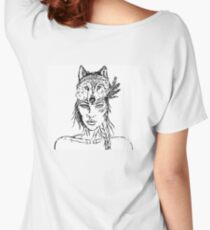 Beautiful Tribal Warrior Wolf Pack Girl Woman  Women's Relaxed Fit T-Shirt