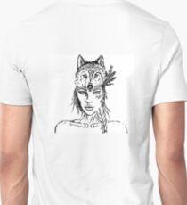 Beautiful Tribal Warrior Wolf Pack Girl Woman  T-Shirt