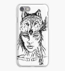 Beautiful Tribal Warrior Wolf Pack Girl Woman  iPhone Case/Skin