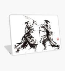 Samurai sword bushido katana martial arts budo sumi-e original ink sword painting artwork Laptop Skin