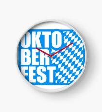 fun oktoberfest text flag blue white pattern party celebrate design cool Clock