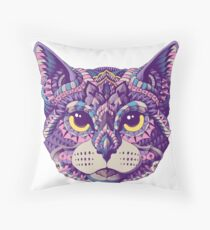 Cat Head (Color Version) Throw Pillow