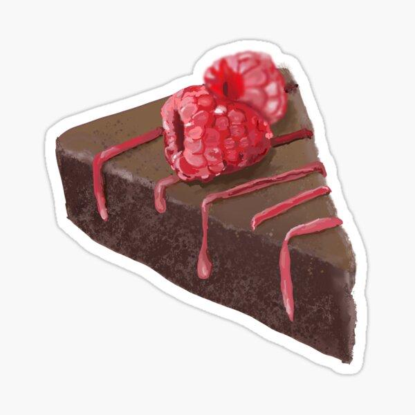 Chocolate tart cake with raspberries  Sticker