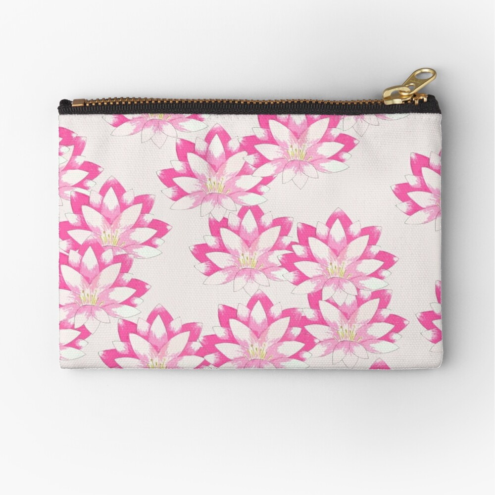 Pink Lotus Zipper Pouch