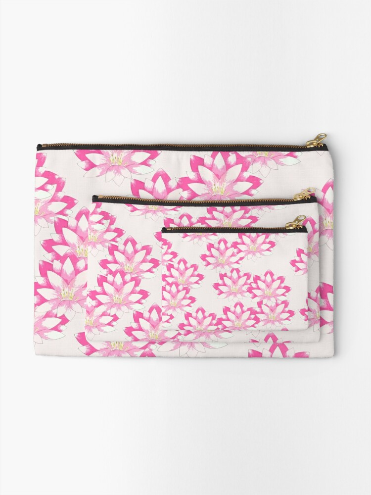 Alternate view of Pink Lotus Zipper Pouch
