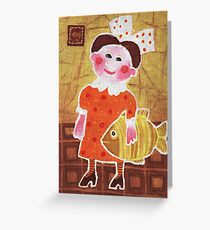 Girl with a fish Greeting Card