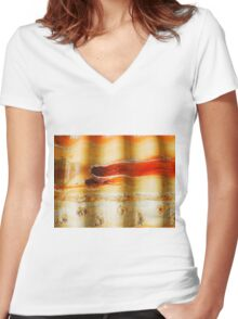 Aussie Corrugated Galvanised Iron Abstract #1 Women's Fitted V-Neck T-Shirt