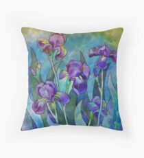Irises watercolor Throw Pillow