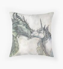 Dragon and Unicorn Throw Pillow