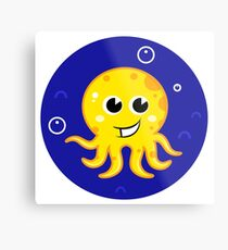 New in shop! Stylish mare octopus : blue and yellow Metal Print