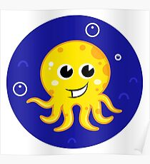 New in shop! Stylish mare octopus : blue and yellow Poster