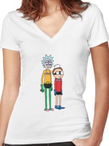 Mermaid Rick and Barnacle Morty Women's Fitted V-Neck T-Shirt