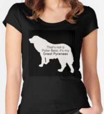 Polar Bear Pyrenees - white on black Women's Fitted Scoop T-Shirt