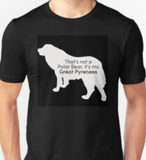 Polar Bear Pyrenees - white on black T-Shirt