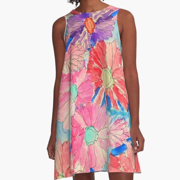 Rainbow Watercolor Flowers A-Line Dress
