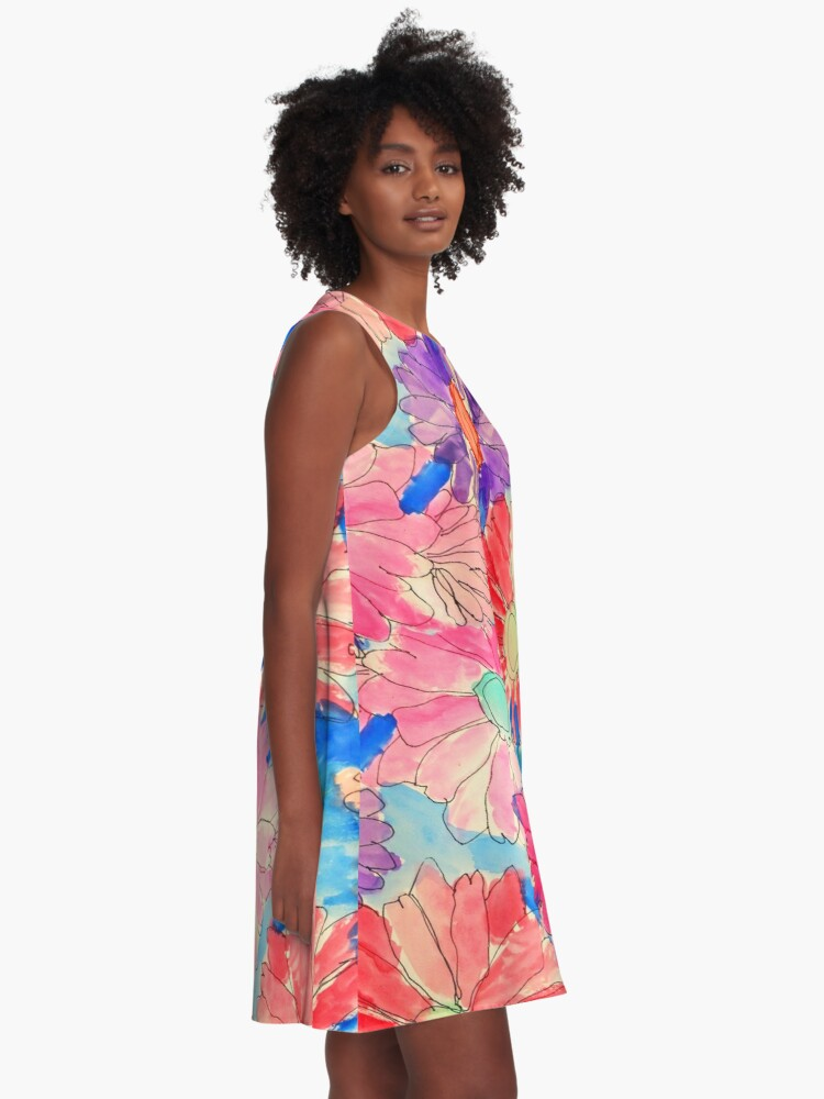 Alternate view of Rainbow Watercolor Flowers A-Line Dress