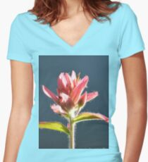 fusia alpine paint brush #1 Women's Fitted V-Neck T-Shirt