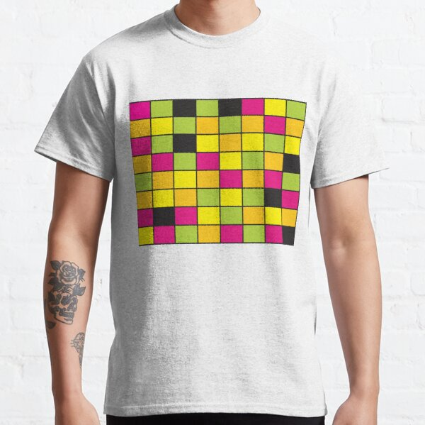 Bright Neon Colored Squares Pattern Classic T-Shirt