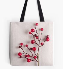Red berries holly on white Tote Bag