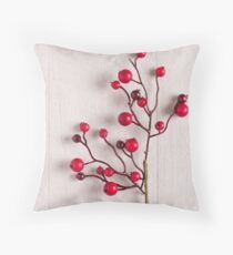 Red berries holly on white Throw Pillow