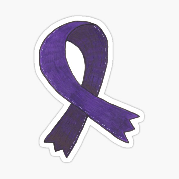 Dark Purple Awareness Ribbon Sticker