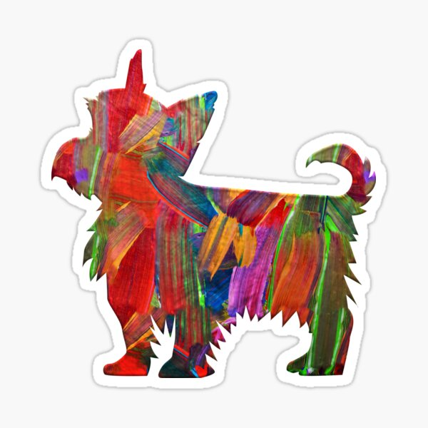 Yorkie Multi Colored Painted Dog Silhouette Sticker